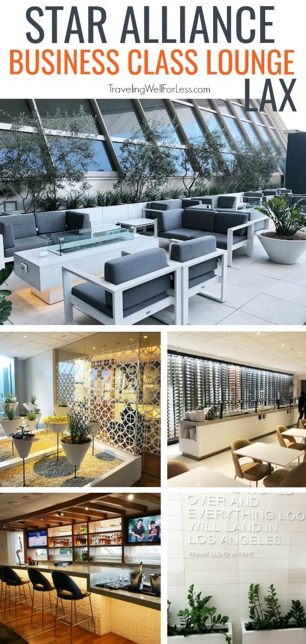 Relax and enjoy free food, drinks, and Wi-Fi, even a shower. Review of the Star Alliance Business Class Lounge LAX in the Tom Bradley Terminal. #travel #airportlounge #staralliance #businessclass #travelwell4less