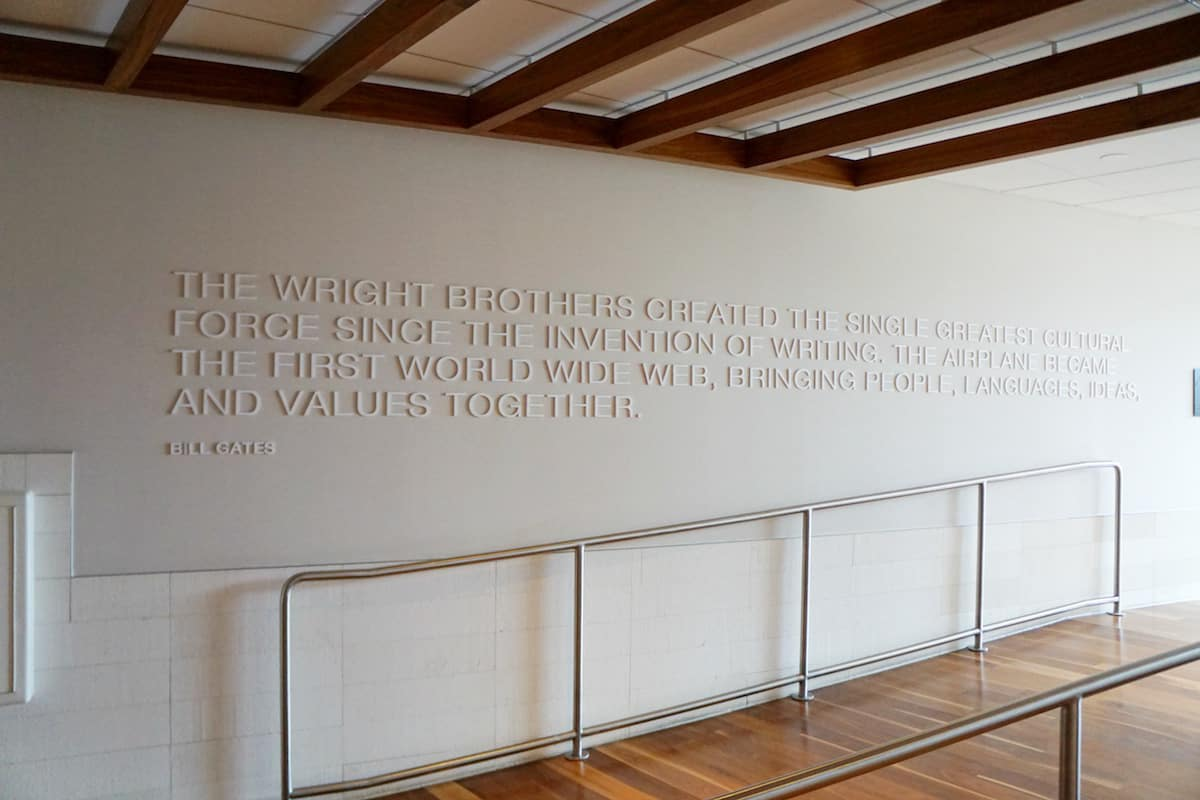 Bill Gates quote on wall leading to outdoor terrace at Star Alliance Business Class Lounge LAX