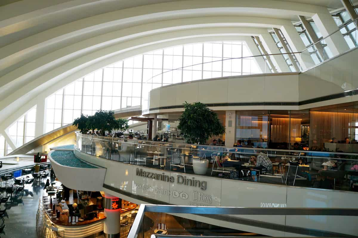 view of the atrium terrace Star Alliance Business Class Lounge Los Angeles Airport