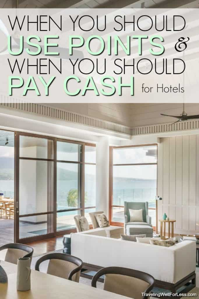 When should you pay with points and when should you pay with cash for hotels?You can save a LOT of money using points. But sometimes it's cheaper to pay cash. Find out when you should pay with points and when to pay with cash. #travelhacks #travel #traveltips