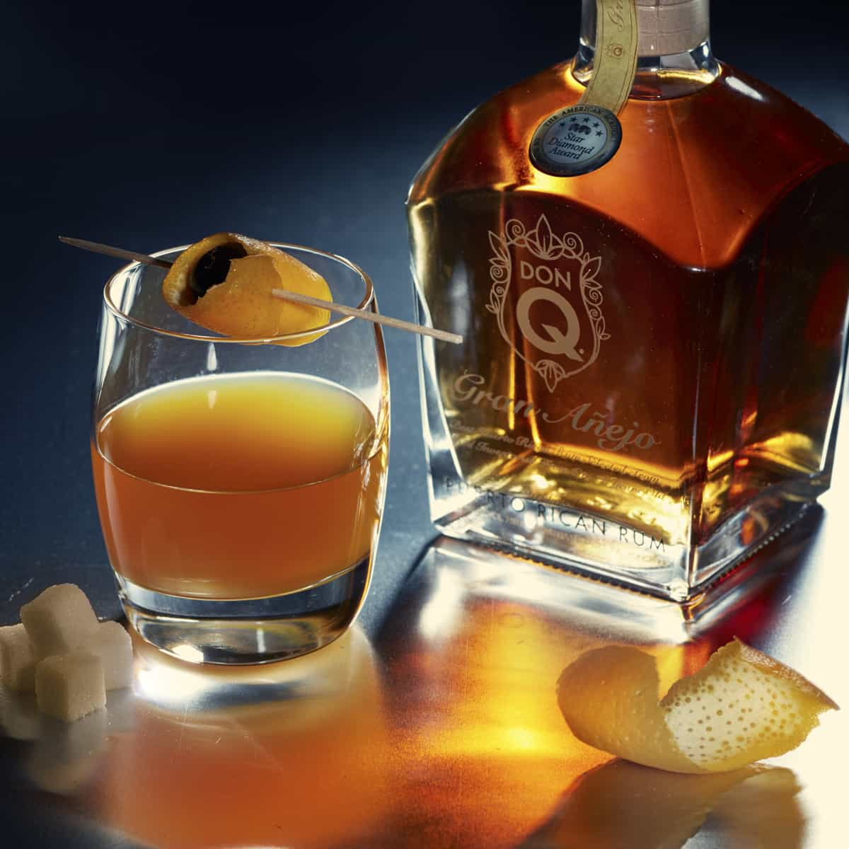 Don Q Gran Anejo aged rum adds a unique twist to an old fashioned. TravelingWellForLess.com