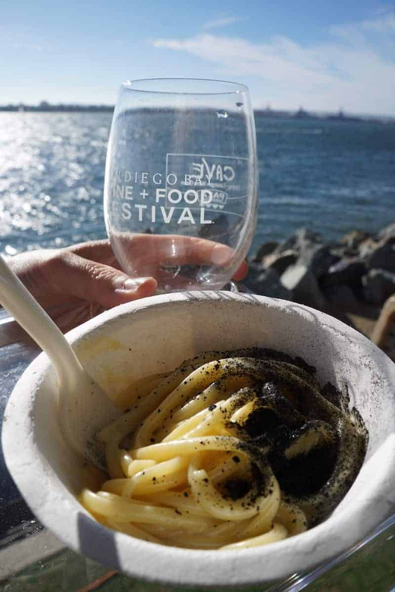 Freshly prepared for each person, the ash gave the fettuccine alfredo texture. The only negative, my wine glass was empty. | San Diego Bay Wine and Food Festival | things to do in San Diego | wine | TravelingWellForLess.com