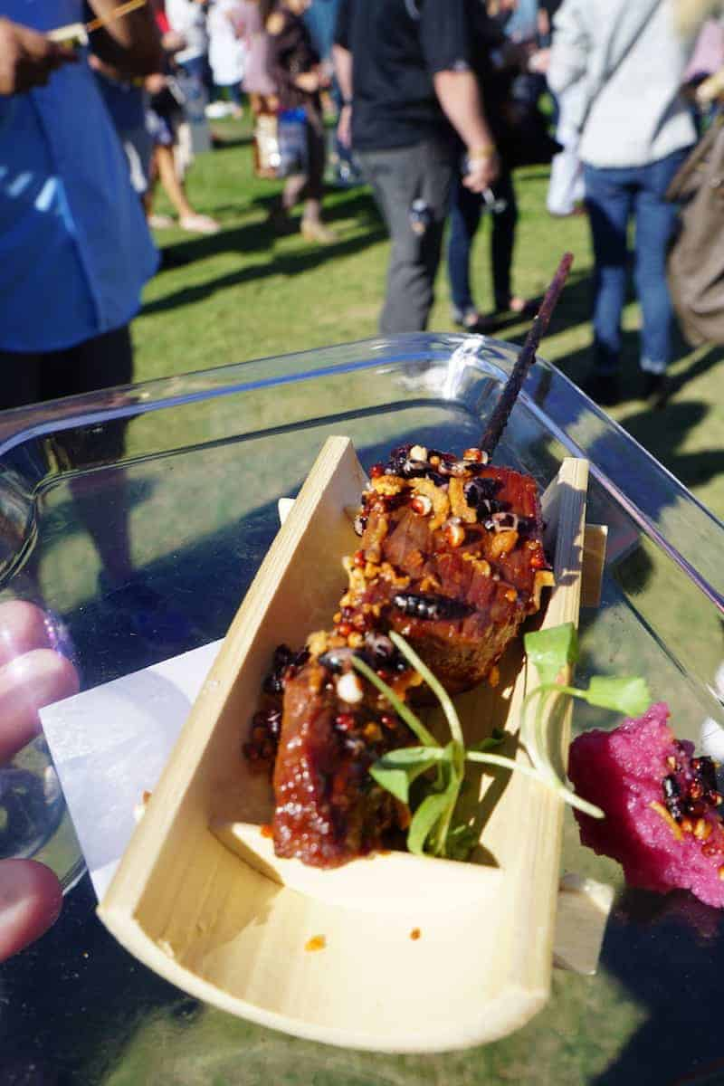 Wagyu Beef skewer | San Diego Bay Wine and Food Festival | things to do in San Diego | wine | TravelingWellForLess.com