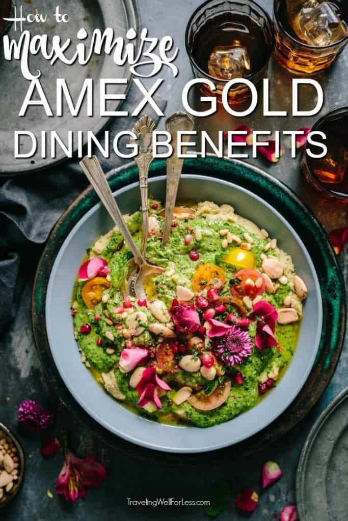 You earn 4X points at US restaurants. Even if you only go out to eat a few times it's a great perk. Here's how to maximize the dining benefits of the American Express Gold card. #travel #travelhacks #travelwell4less #foodie #travelrewardscards #creditcards