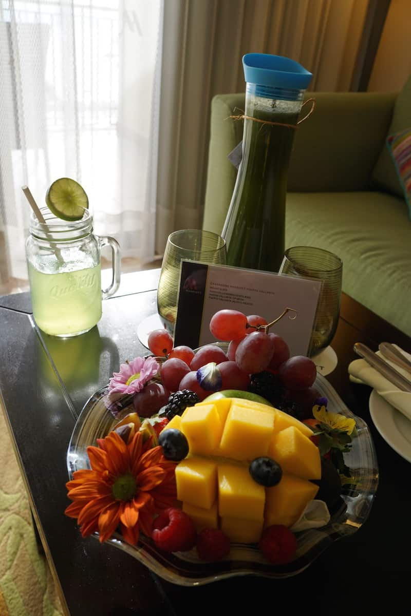 A fruit basket and pitcher of cucumber water was a refreshing treat after my flight. | Marriott Puerto Vallarta Resort & Spa | where to stay in Puerto Vallarta | www.TravelingWellForLess.com