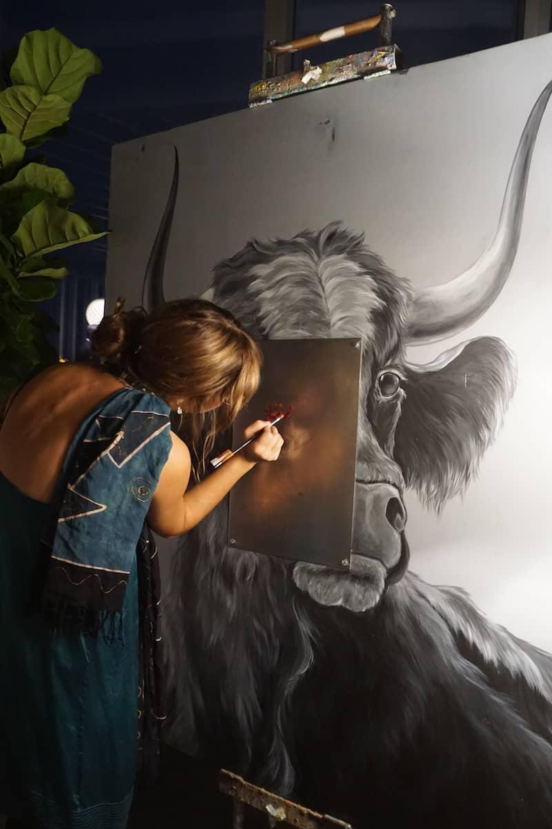VASO Rooftop Lounge bull painting. | Dublin, Ohio | Columbus | Spanish food | where to eat in Columbus | TravelingWellForLess.com