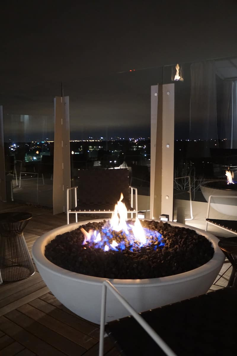 Chilly nights won't seem so cold when you're sitting by the fire pit at VASO Rooftop Lounge. | Dublin, Ohio | Columbus | Spanish food | where to eat in Columbus | TravelingWellForLess.com