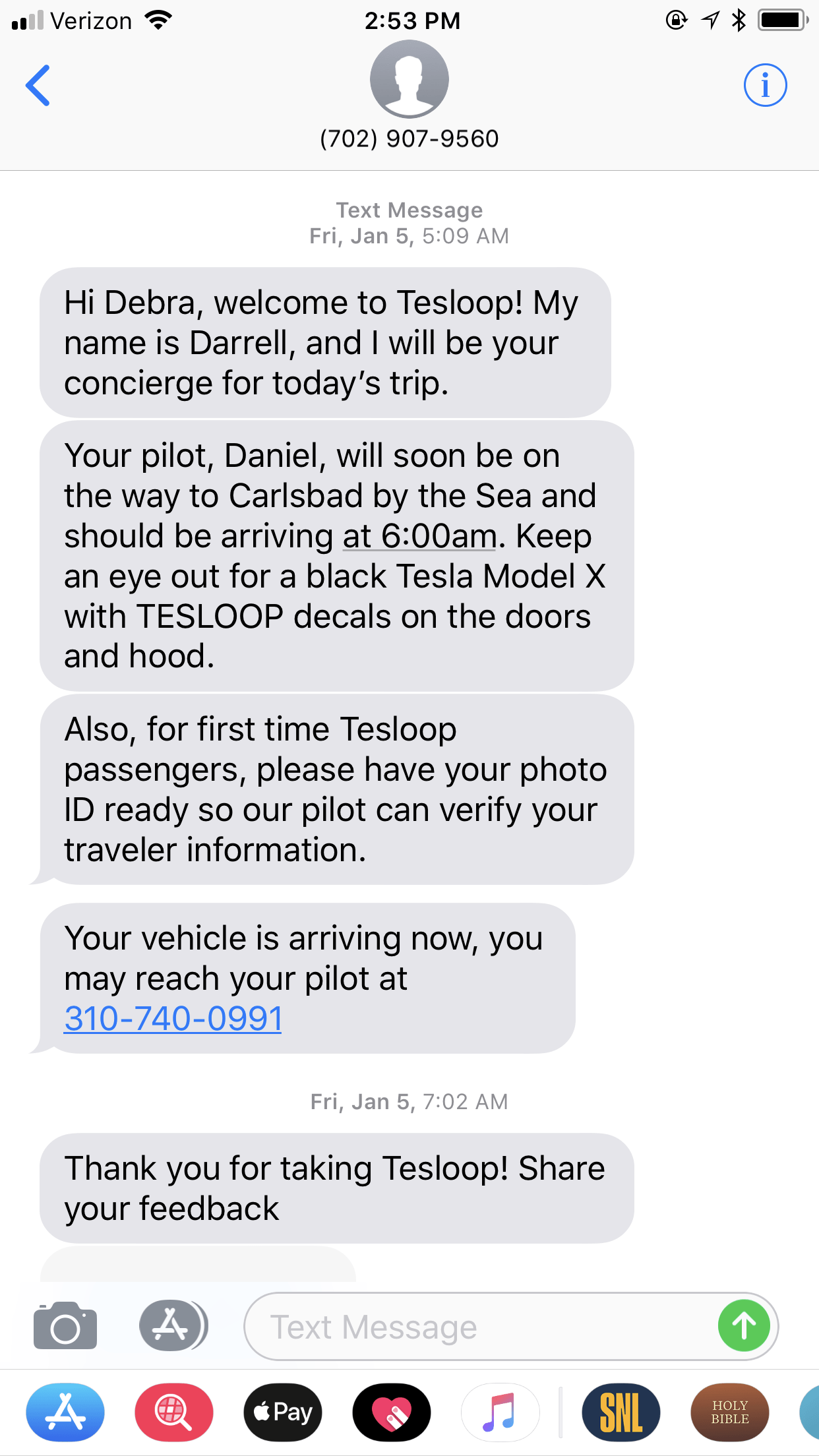 You'll get a confirmation text from your concierge introducing himself and your pilot and your trip details one hour prior to your trip. Another text is sent when your Tesloop is arriving. | Tesloop everything you need to know. | ridesharing | how to get to LAX from San Diego | how to get from Los Angeles to Palm Springs | https://www.travelingwellforless.com