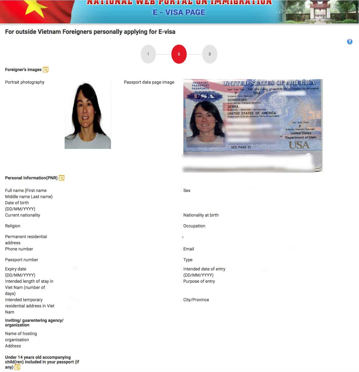 Upload passport photo and passport data page