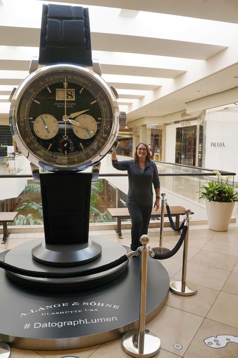 10 foot display A.Lange Sohne Datograph Lumen at South Coast Plaza, best things to do in Costa Mesa