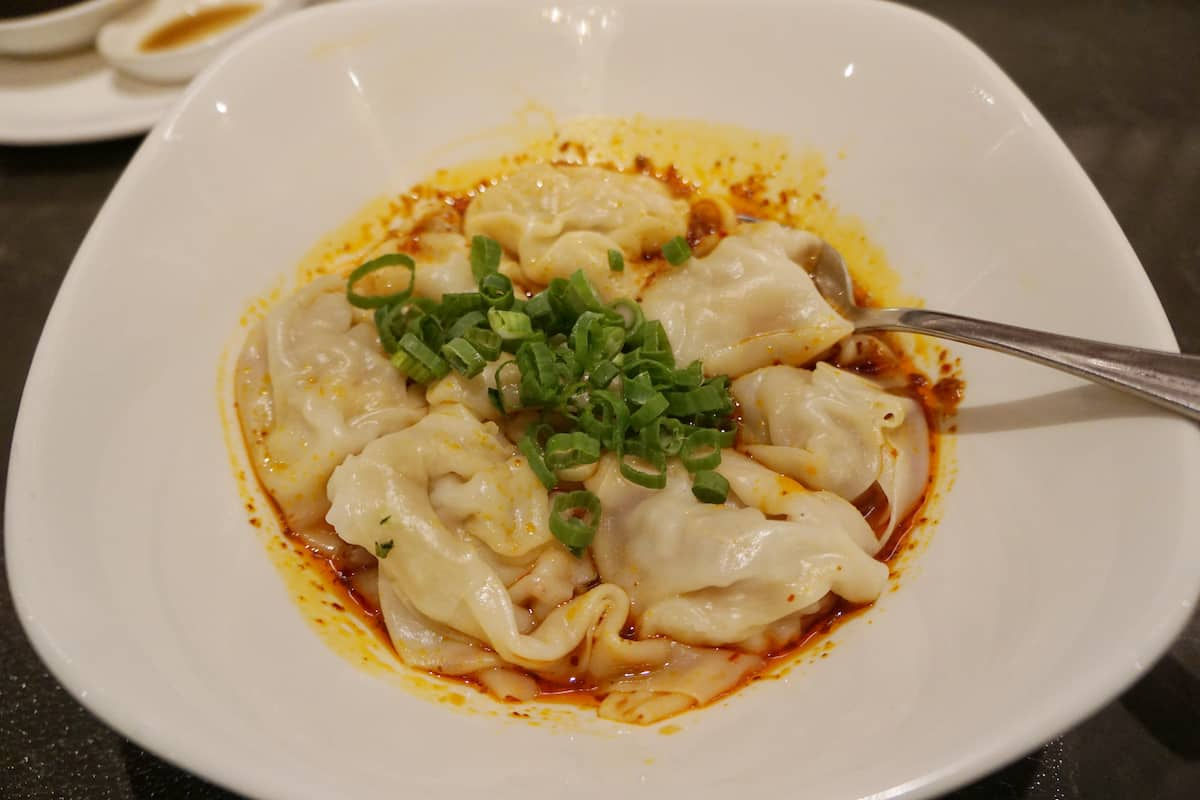 Shrimp & Kurobuta Pork wontons with spicy sauce, best things to do in Costa Mesa