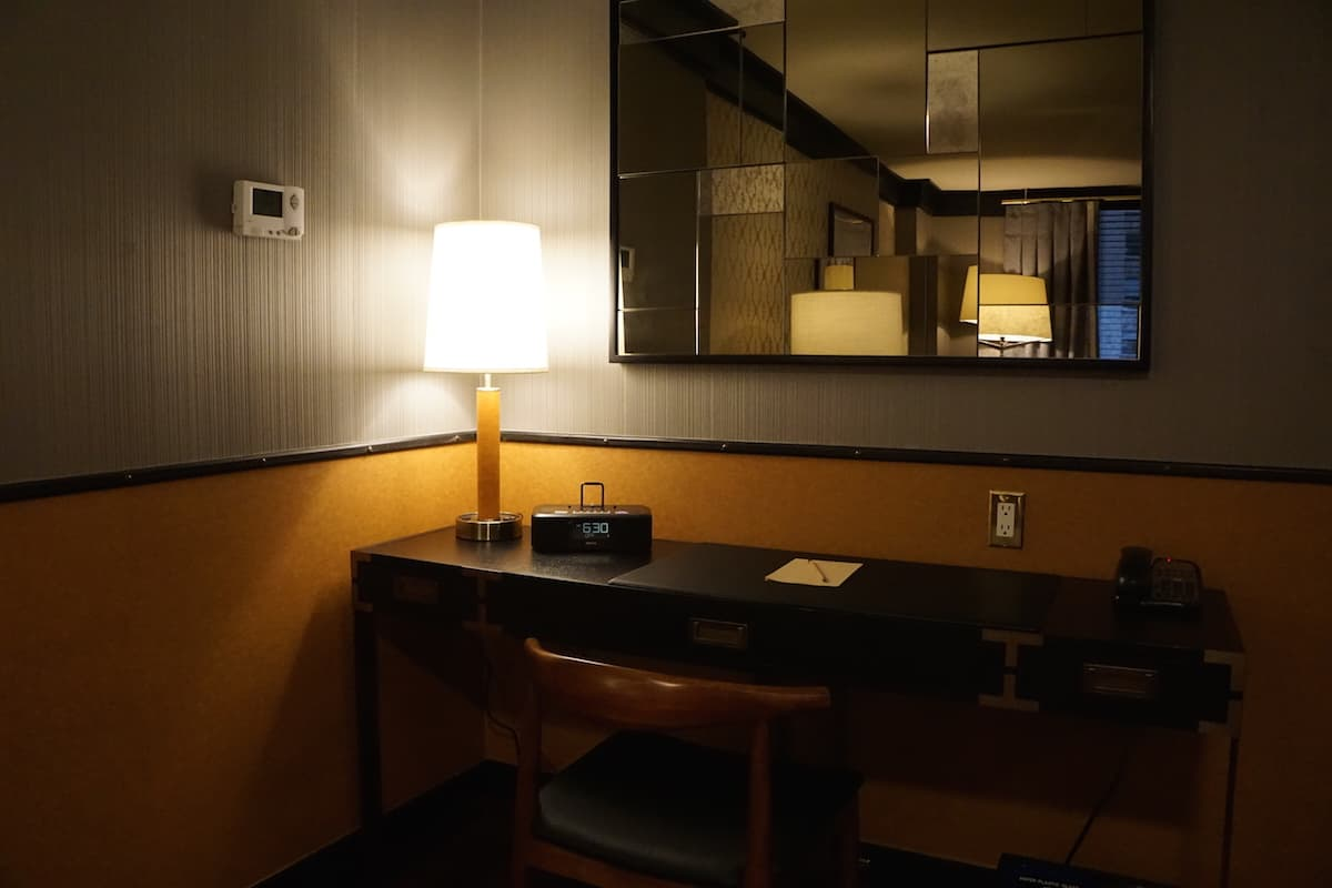 work desk in suite at Gild Hall, a Thompson Hotel