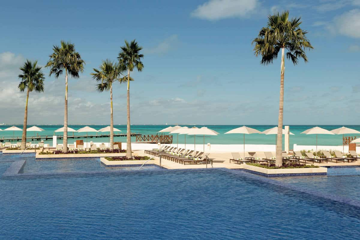 pool at beachfront hotel in Mexico