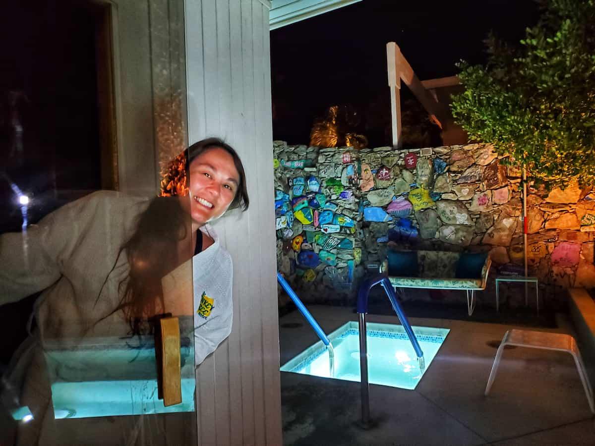 sauna, hot water pool at night
