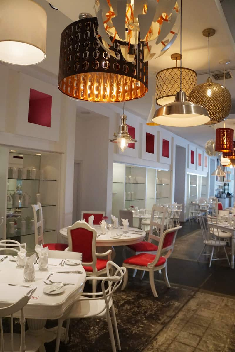chic restaurant with white furniture