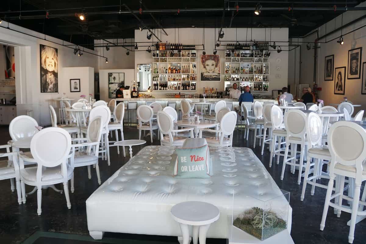 chic restaurant tables chairs and bar