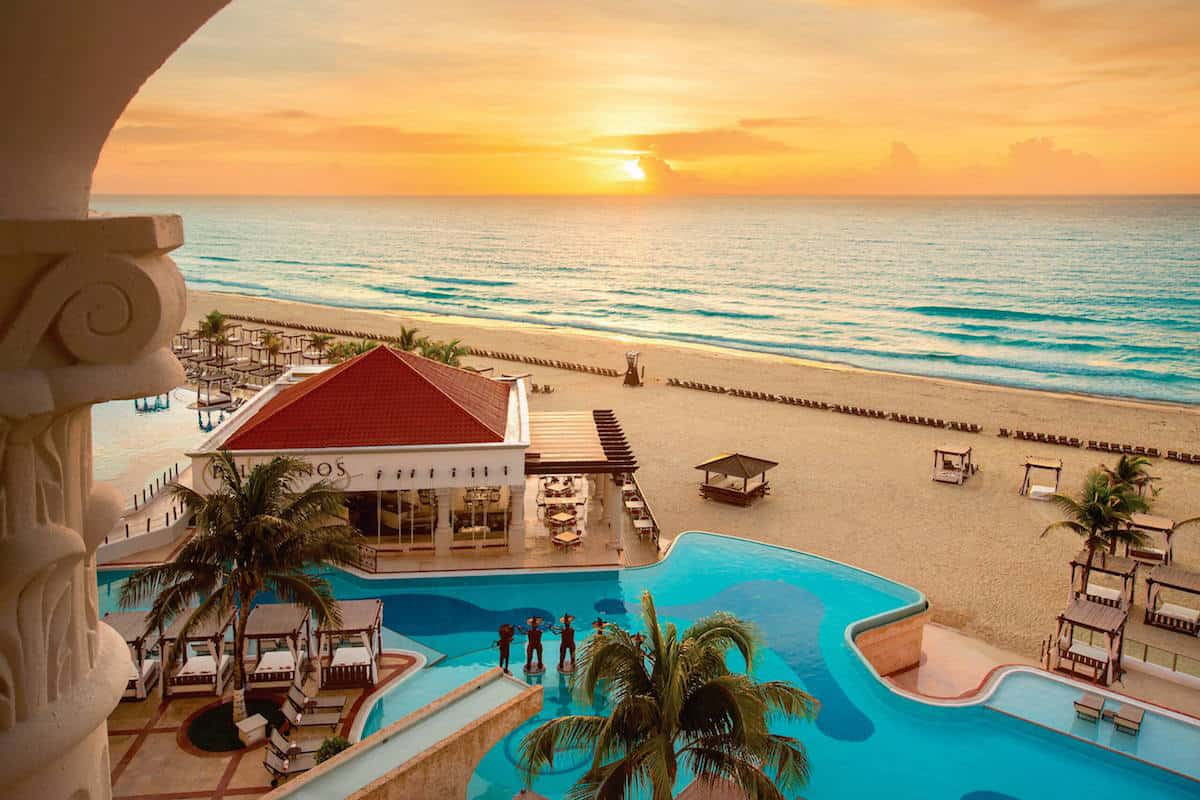 sunrise at beach front hotel