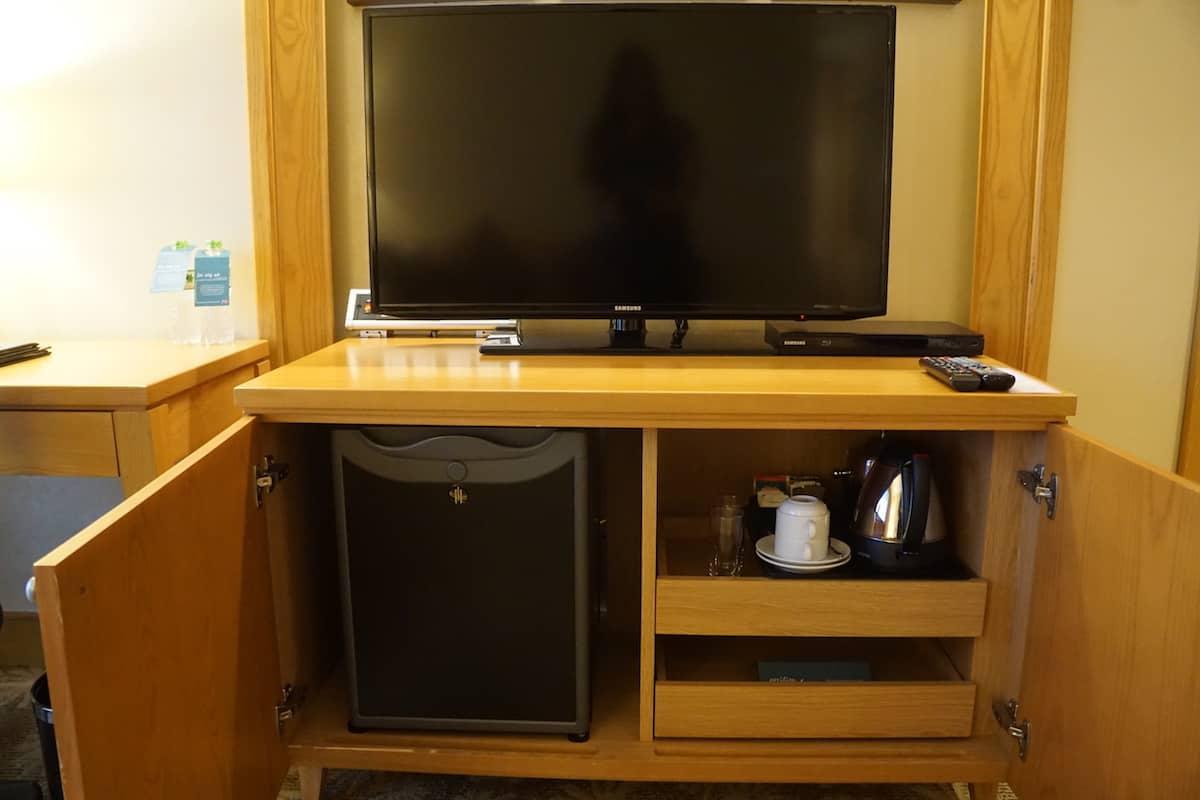 TV, fridge, and coffee pot