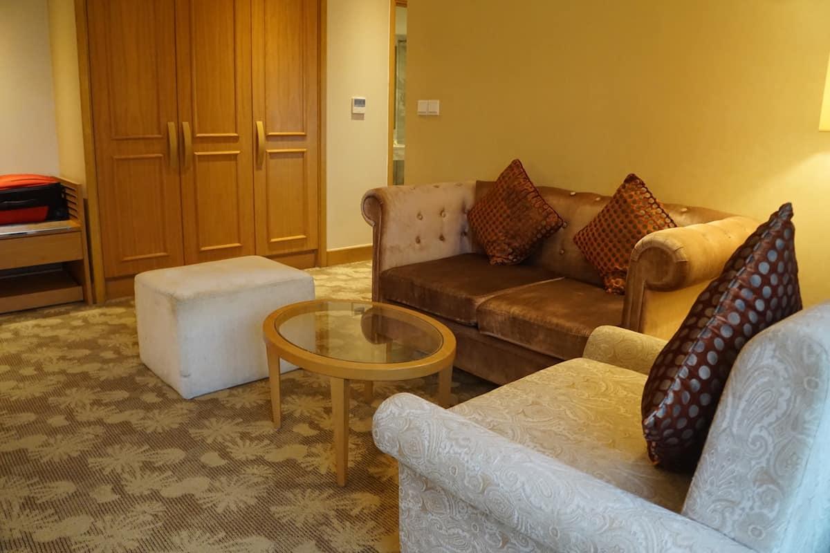 living room in hotel suite