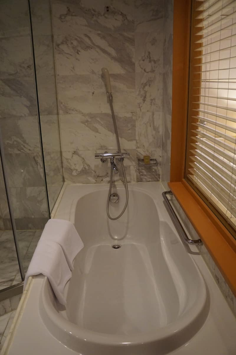 tub with shower nozzle