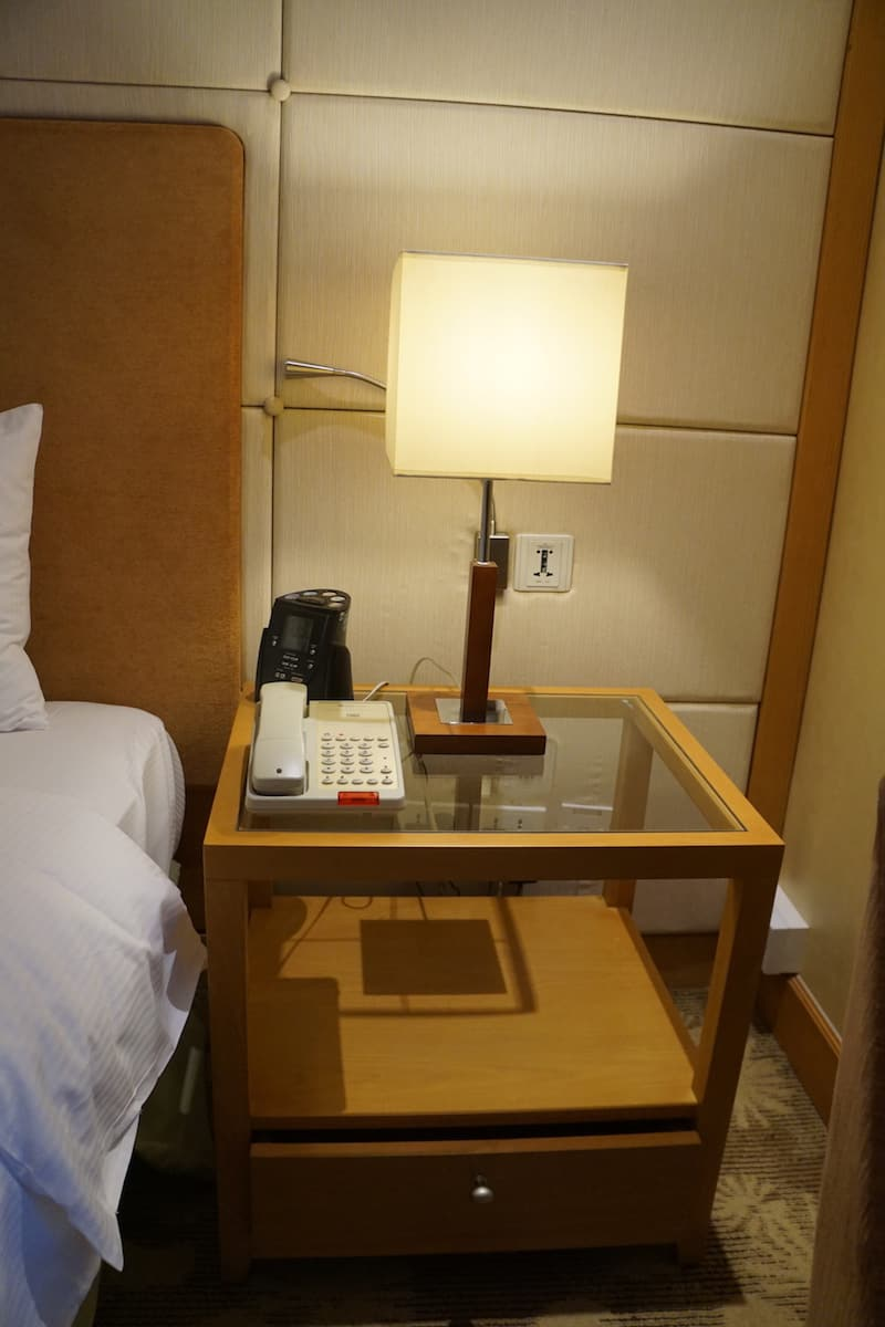 bedside table at hotel