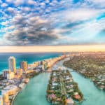 Aerial view of Miami Beach at sunset.