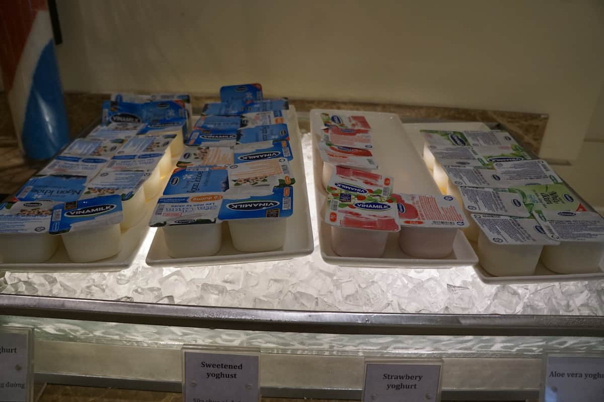 yogurts at hotel breakfast buffet