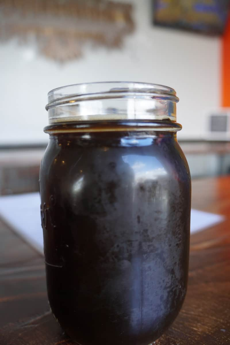 dark craft beer in mason jar