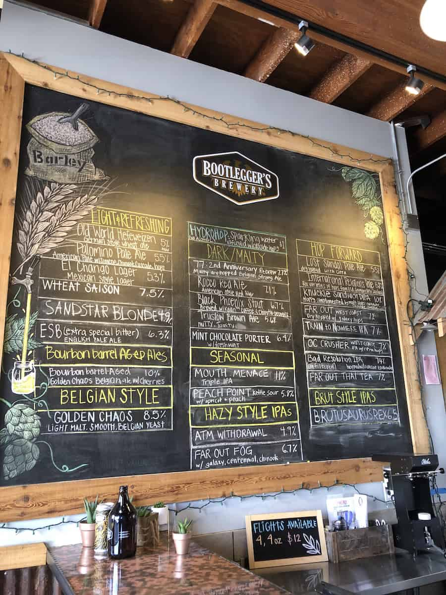 craft beer menu Bootleggers Brewery Costa Mesa
