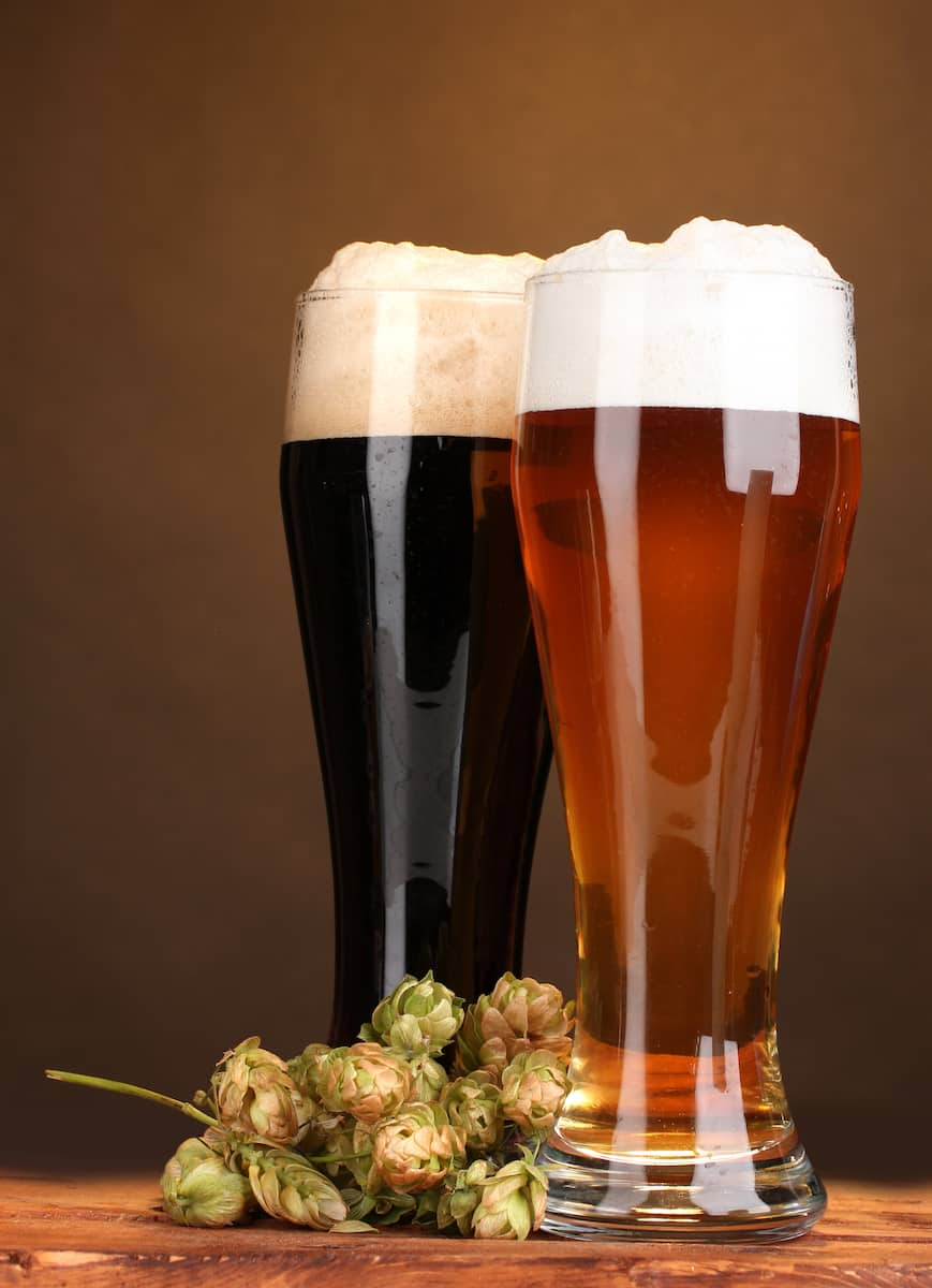 black and golden beer in glasses and hop on wooden table on brown background
