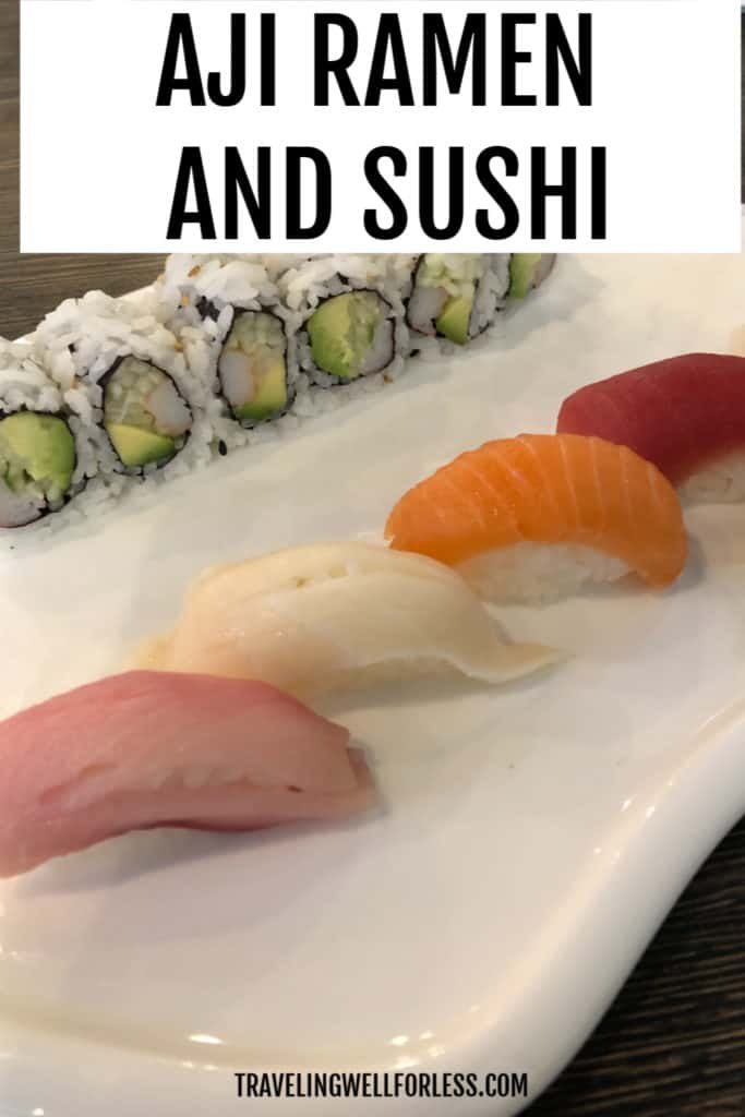 Aji Ramen and Sushi six piece california roll with five pieces of sushi on white plate