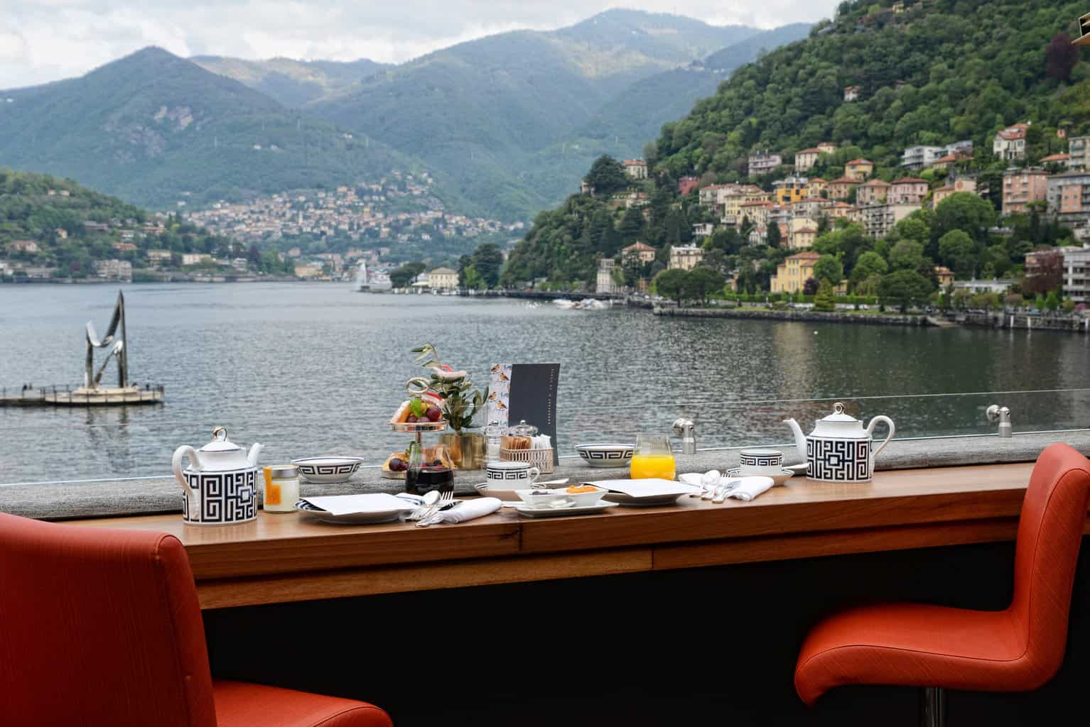 view of Lake Como from outside of a restaurant