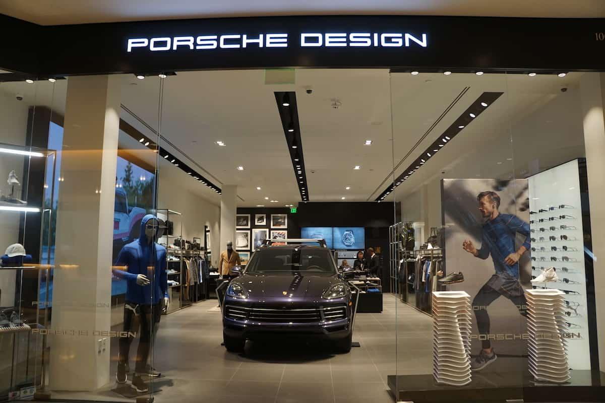 blue Porsche at Porsche store at South Coast Plaza shopping mall