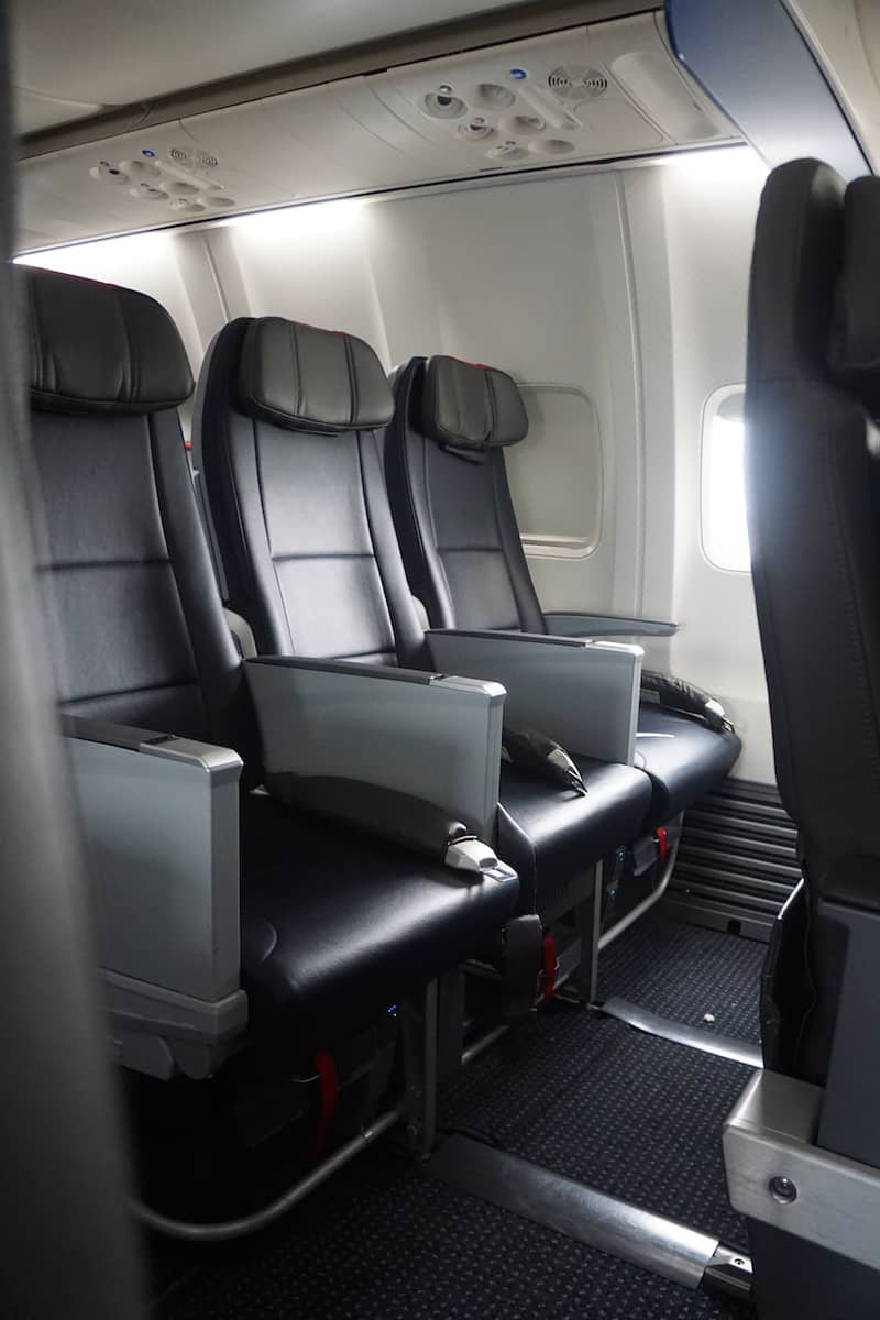 row of seats in coach