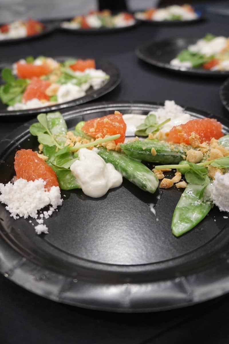 sugar snap, snow peas with yogurt and grapefruit slices