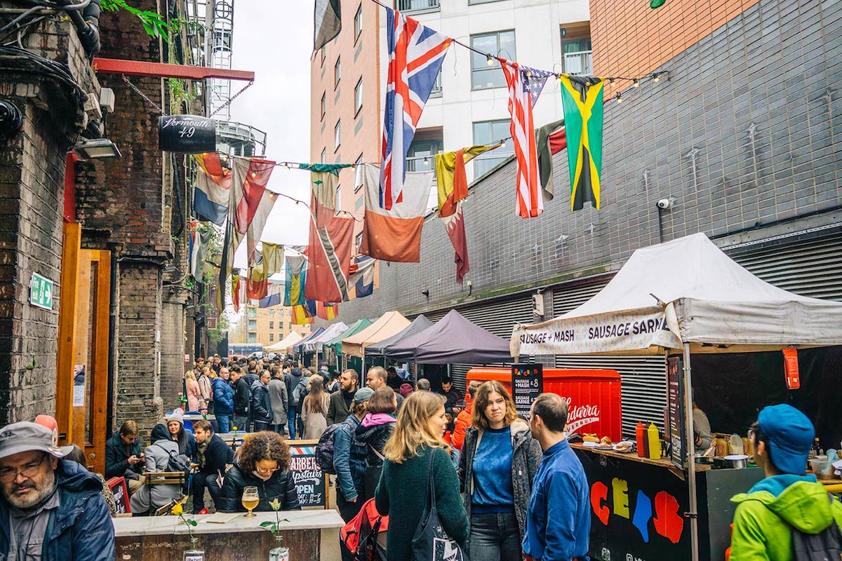 people visiting Maltby street market