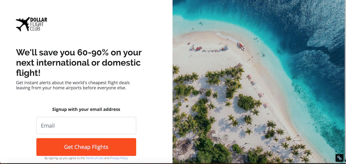 join Dollar Flight Club from the signup page