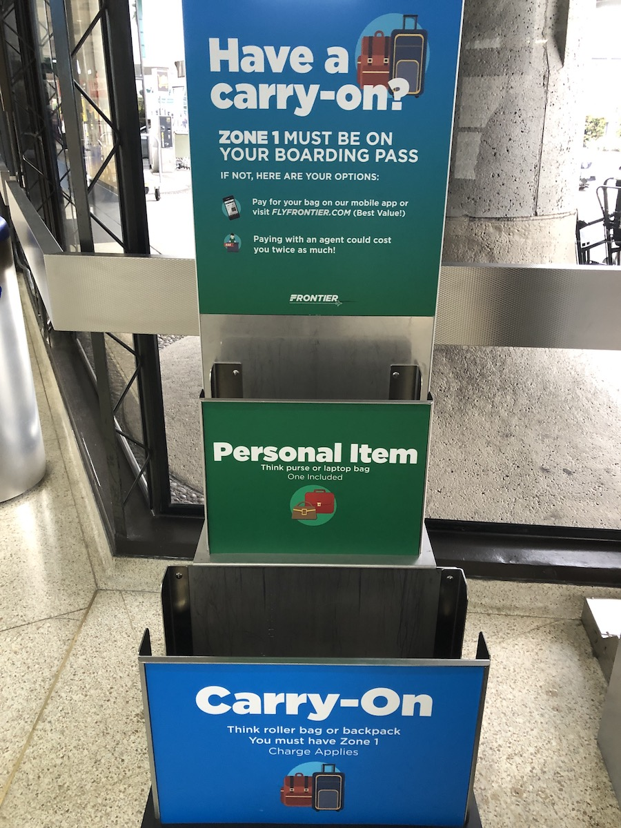 Frontier Airlines bag sizers and reminder about fees