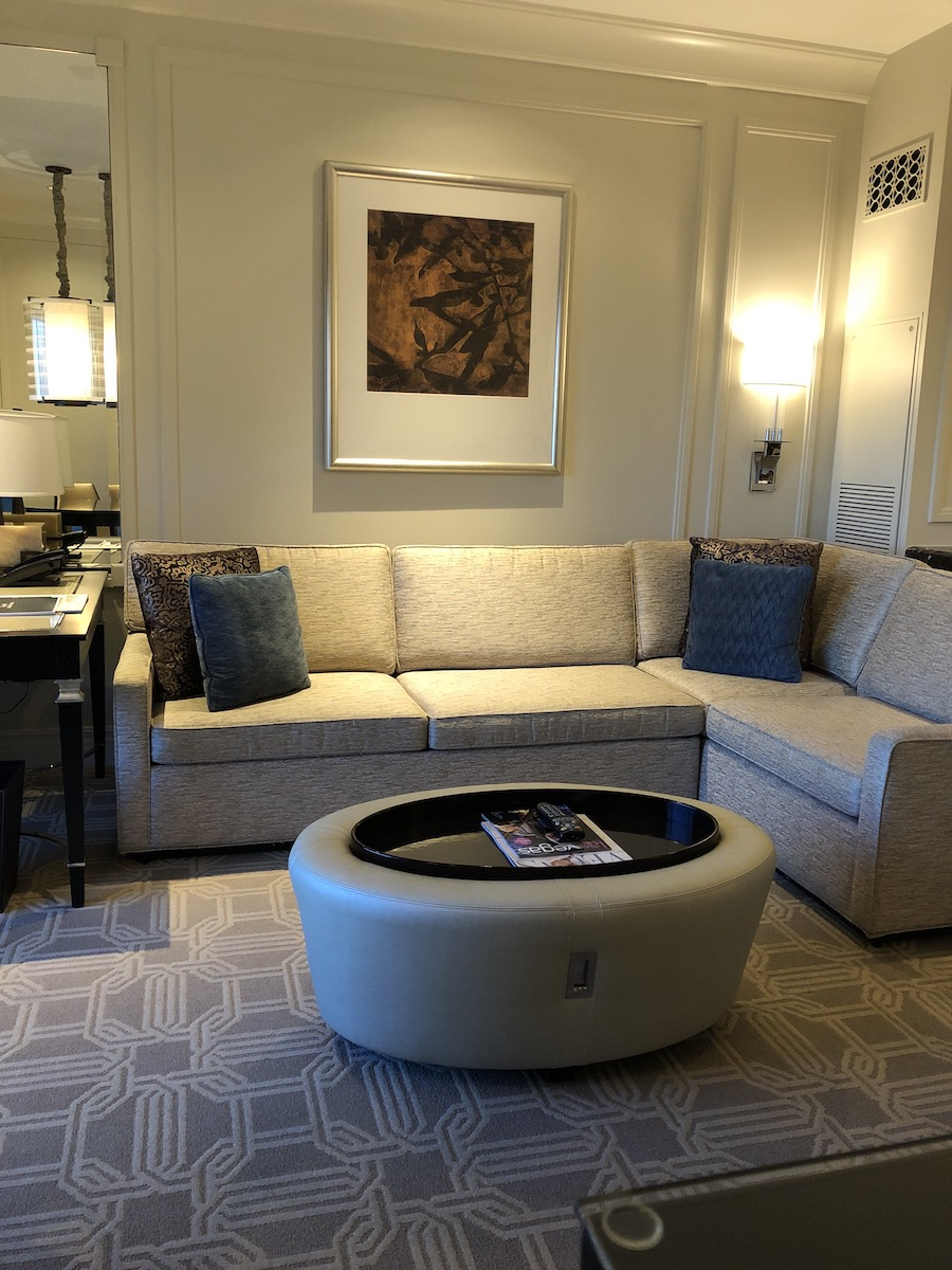 tan leather coffee table in suite living room at The Palazzo Las Vegas
