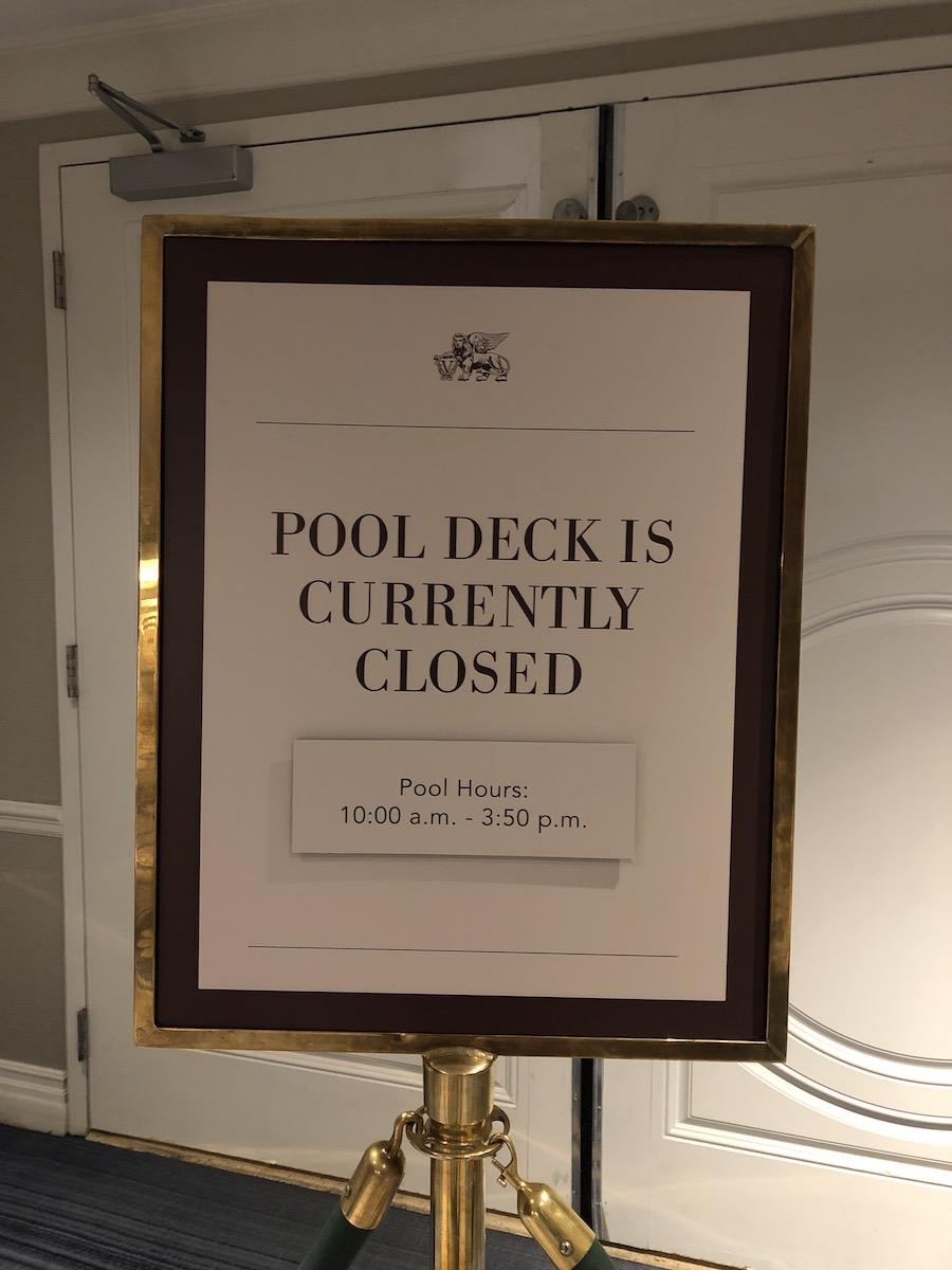 closed pool sign at The Palazzo Las Vegas