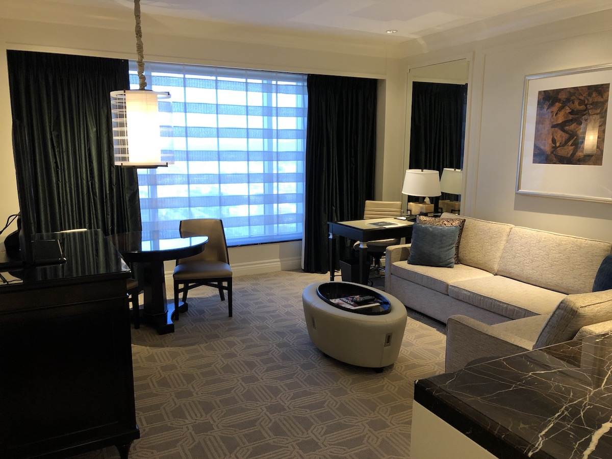 living room in suite at The Palazzo Las Vegas