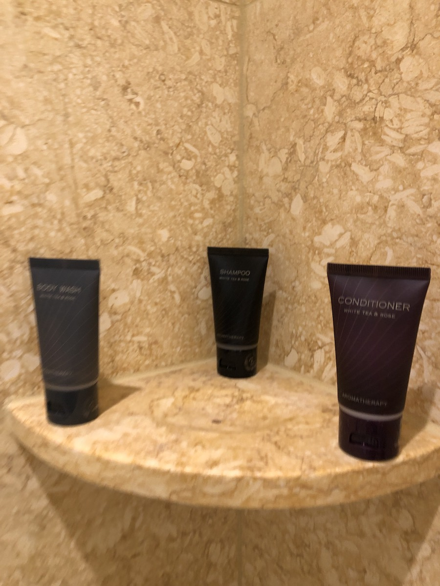 The Palazzo Las Vegas toiletries: shampoo, conditioner, and shower gel