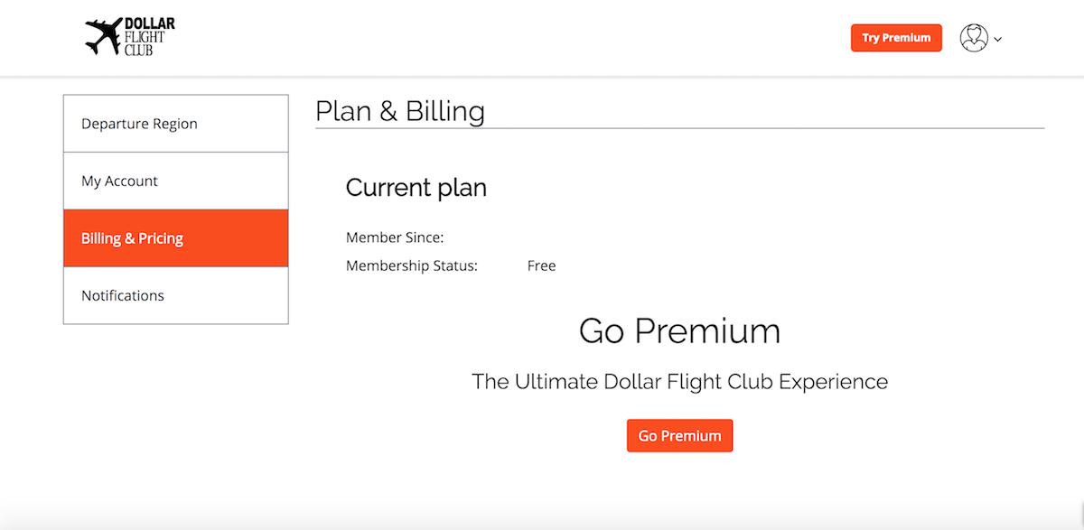 Upgrade a free Dollar Flight Club Membership to a Premium Membership