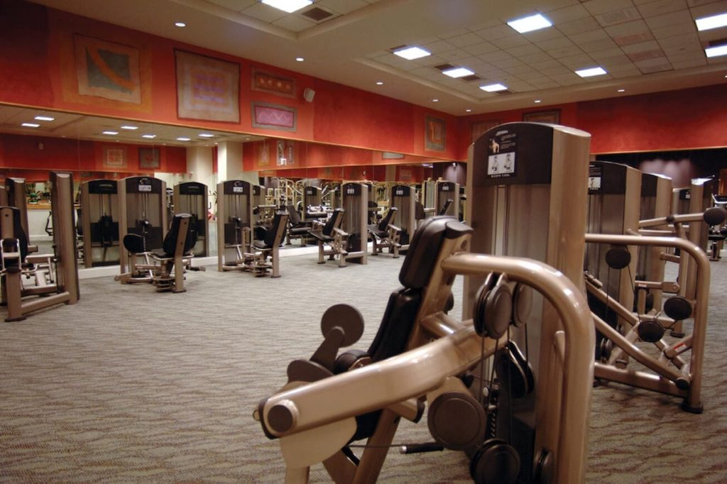 tan fitness machines in tan carpeted fitness center at Canyon Ranch Spa Las Vegas