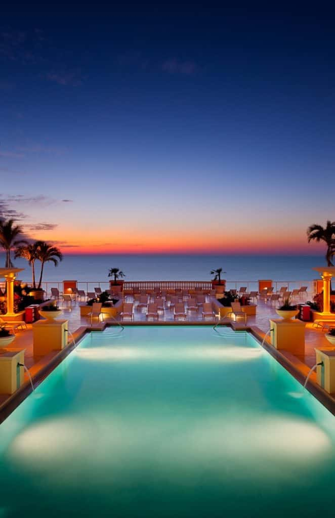 Hotel pool at sunset