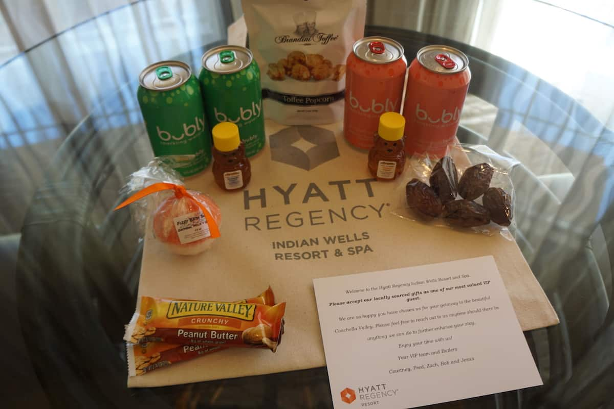 cans of sparkling water, dates, granola bars