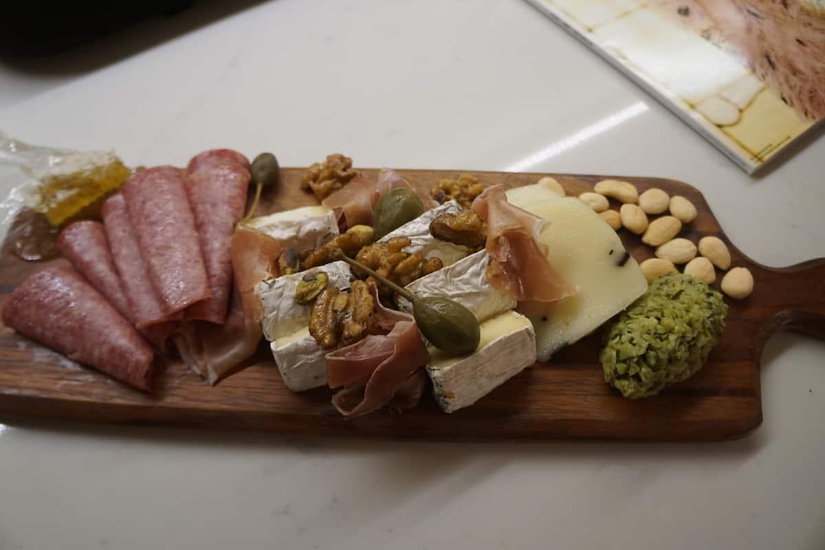 salami, cheese, nuts