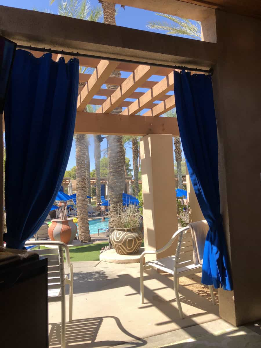 view from inside pool cabana