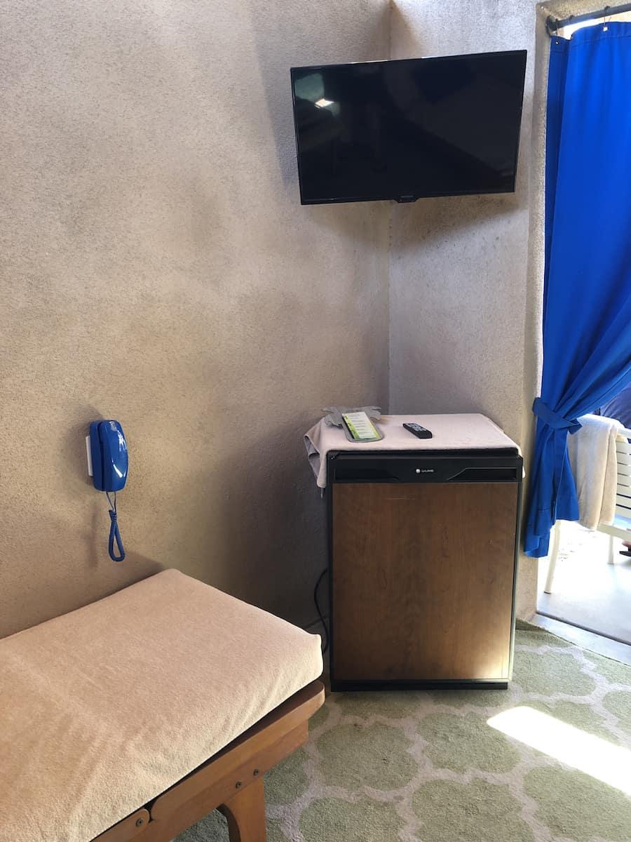 TV, fridge in cabana