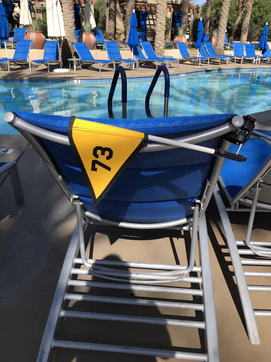 pool chair with numbered flag